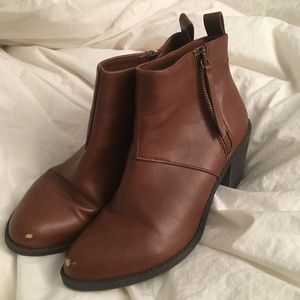 Faux leather brown zip up booties